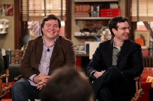 Carter Bays and Craig Thomas at the HIMYM set visit last week